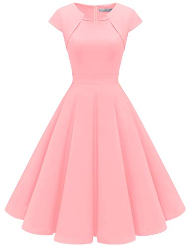 HomRain Damen 50er Vintage Retro Kleid Party Kurzarm Rockabilly Cocktail Abendkleider Blush M -