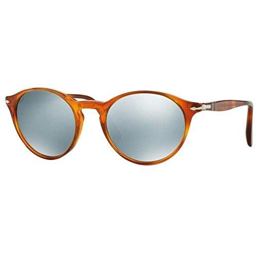 Persol Unisex PO3092SM Sonnenbrille, Mehrfarbig (Gestell: terra di siena, Gläser: hellgrün-verspiegelt silber 904130), Small (50)