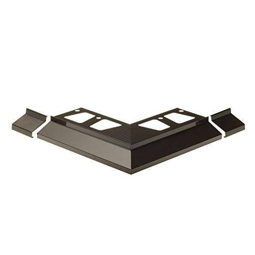 CEZAR W-AL-OKAP100Z-117-0218 Winkel + Verbinder (Komplett) für Terrassenprofil, Dunkelgrau, 2 Stück (Al-winkel)