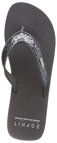 ESPRIT Damen Glitter Thongs Pantoletten, Grau (Gunmetal 015), 38 EU