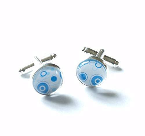 Manschettenknöpfe Glas Cabochon retro Muster Kreise blau weiß silbern Herren Männer Hemd Accessoir Juvelato
