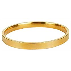 Onnet High Quality Pure Brass Gold Plain Bracelet Kada For Men (7.0 CM Diameter)