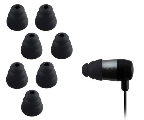 Xcessor Triple Flange 4 Paar (Satz Mit 8 Stück) Gummi Silikon Ohrpolster Ohrstöpsel Für In-Ear Ohrhörer. Kompatibel Mit Den Meisten In-Ohr Markenkopfhörern. Größe: M (Mittel). Farbe: Schwarz thumbnail