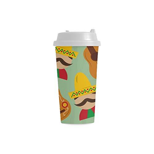 Gitarre Musikinstrument Benutzerdefinierte 16 Unzen Doppelwandige Kunststoff Isoliert Sport Wasserflasche Tassen Pendler Reise Kaffeetassen Für Studenten Frauen Milch Teetasse Trinken (Glas Milch Kostüm)