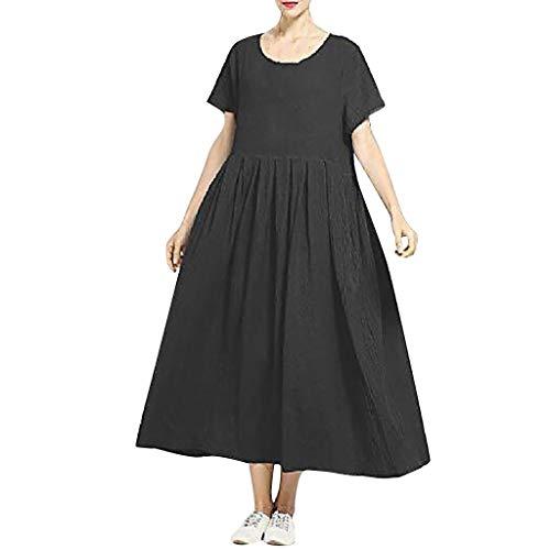 RYTECFES Maxikleider Damen Sommerkleid Rundhals Lose Kleider Leinen Retro Freizeit Kleid Tasche geknöpft Täglich Kleid Einfarbig Mode Strandkleider
