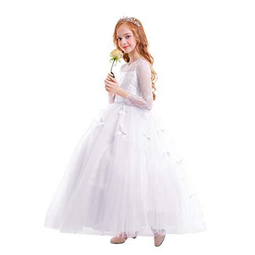IWEMEK Brautjungfer Kleider für Mädchen Blumenmädchen Hochzeitskleid Lange Ärmel Schmetterling...