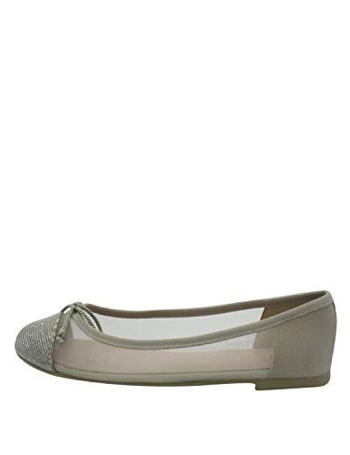 Pretty Ballerinas Women's Marilyn Ballerinas Grey in Size 40 - Glitter Bow Flats Schuhe