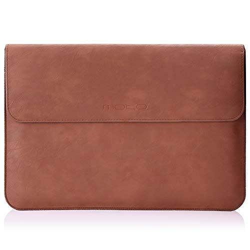 MoKo MacBook Air/Pro 13.3 Zoll Laptop Hülle - PU Leder Tasche Schutzhülle Lederhülle Wallet Case Leather Sleeve Aktentasche mit Karten-Slot für Apple MacBook Air/MacBook Pro 13.3 Zoll, Braun