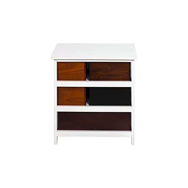 Rebecca Mobili Bathroom Storage Unit, Chest of Drawers 4 Drawers, Paulownia Wood Mdf, Brown White, Vintage Retro Kitchen – Dimensions: 52 x 47 x 33 cm (HxWxD) - Art. RE4338 Rebecca Mobili Stylish forniture with white wooden shelf and 4 brown drawers. Really suitable and easily adaptable to your entrance, living room, bedroom and also perfect your kitchen. Urban style, new design, really original. Add a touch of color to your home with the cabinet of REBECCA ATLANTIC line Size: H 52 cm X L 47 cm X W 33 cm Size: 1 drawer H 26,5 cm x W 15,5 cm x D 28 cm - 1 drawer H 12,5 cm x W 40,5 cm x D 28,5 cm - 2 drawers H 12,5 cm x W 23 cm x D 28,5 cm 8