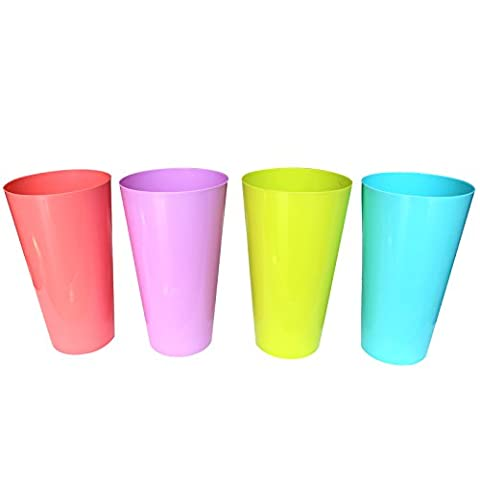 12pc Plastic Cup Tumbler Set by Belle Vous - Assorted Colours - Reusable Cups - For Party, Wedding, Camping, Beach and Picnic Use - Top Shelf Dishwasher Safe