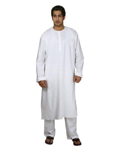 indischen Kostüm weißer Baumwolle Kurta Pyjama Männer Sommerkleider Casual Brust 112 (Bollywood Kostüme Männer)