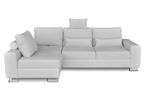 Windsor & Co Gauche Convertible Canapé d'Angle, Tissu, Gris Clair, 260 x 188 x 87 cm