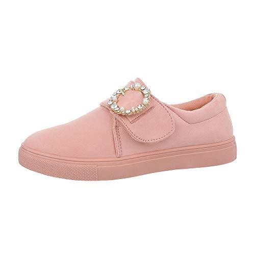 Ital-Design Damenschuhe Freizeitschuhe Sneakers Low Synthetik Rosa Gr. 39