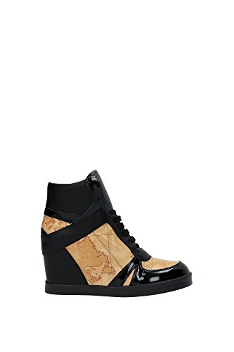 1 CLASSE ALVIERO MARTINI Sneakers Donna Pelle Vernice (39 EU, Nero/Beige)