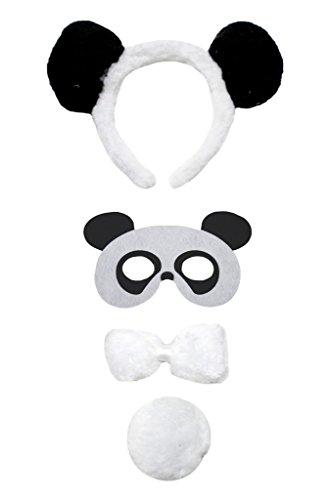 Petitebelle Maske Panda Stirnband Bowtie Schwanz 4pc Kostüm für Kinder Einheitsgröße Weiß (Panda Schwanz Kostüm)