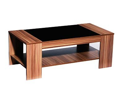 Walnut & Black Gloss Coffee Table- Hollywood Range by Furniture Kraze