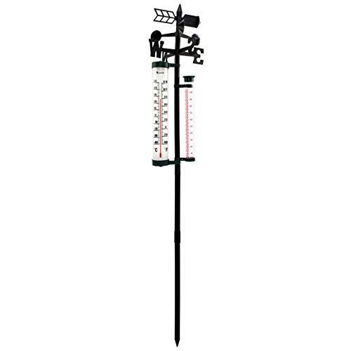 Lantelme Wetterstation mit Regenmesser Analog Windrichtung Außen Thermometer Garten Temperatur Regenmenge 7607