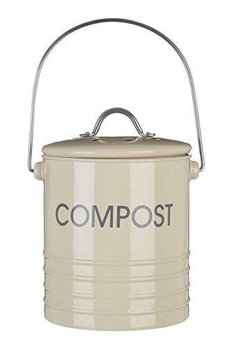 Premier Housewares 0510020 Komposteimer mit Tragegriff Ø14 x H22 cm, Creme