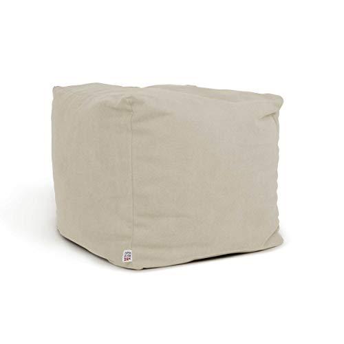 arketicom soft cube pouf poggiapiedi sacco morbido quadrato sfoderabile puff da salotto 42 avorio