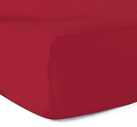 Drap-housse 180x200 100% coton 57 fils Rouge