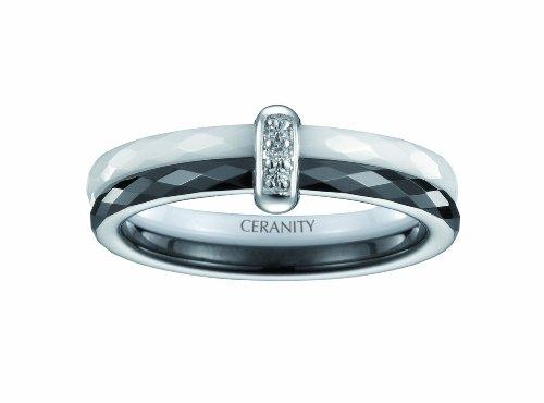 Ceranity - Anillo de plata de ley con diamante (.005), talla 12...