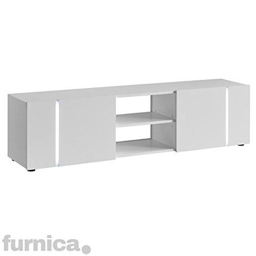 FURNICA TV Möbel Lowboard, 160x35x43cm, Weiß Hochglanz + Mehrfarbig LED
