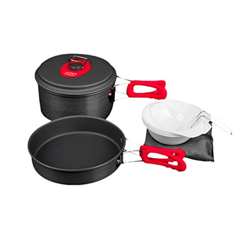 Delicacydex ALOCS CW-C29 Ultraleicht Outdoor Camping Kochgeschirr Topf Set Pot Pan Schüssel Geschirr Picknick Kochutensilien Set für 1-2 Personen