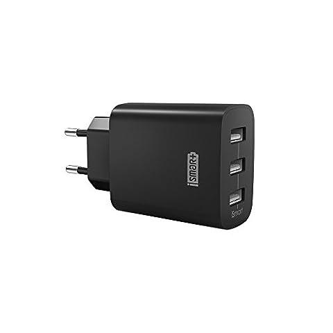 Chargeur USB Secteur 3 Ports Universel Secteur Mural RAVPower (30W / 5V 6A total) avec Technologie iSmart, Adaptateur Secteur USB Mural - Noir
