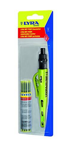 Lyra Profi Markierstift mit Dry-Leads Ersatzminen (Graphit), Bleistift für alle Oberflächen, mit Spitzer - 4498103 -
