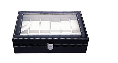 Caja para Guardar 12 Relojes de Hombre y Mujer. Estuche Organizador de Joyas y Pulseras. Joyero Expositor para almacenaje de Relojes y Gemelos. Diseño Elegante, Ideal para Regalo.