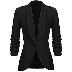 UNibelle Blazer Femme Noir Veste Blazers Veste De Costume Manche 3/4 Casual Slim Court Chic Noir