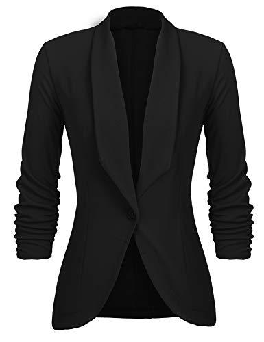 Unibelle Damen Blazer Cardigan Dünn 3/4 Längere Elegant Leicht Bolero Jacke Blazer Slim Fit Anzug Trenchcoat , A-schwarz, 44(Herstellergröße:XXL)