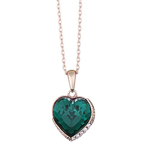 18ct Rose Gold Finish Heart Shaped Pendant Necklace with Swarovski Emerald Crystals