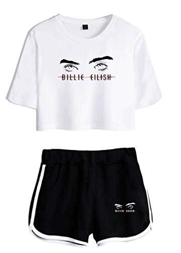 AMOMA Mädchen Damen Billie Eilish Shorts und Crop Top Sets Freizeit T-Shirt Trainingsanzug Mode Streetwear(XS,White-Black-Eye)