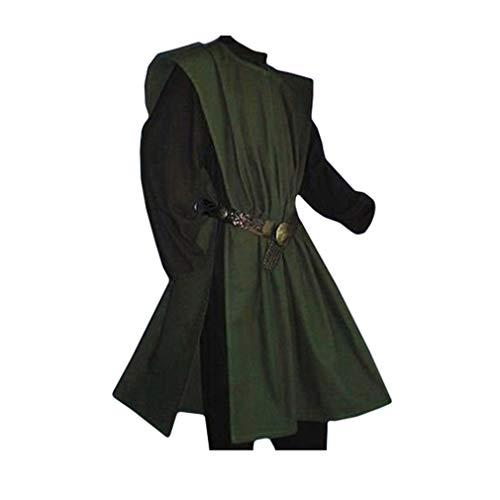 Herren Mittelalter Tunika Seitliche Öffnung Einfarbig Kittel Renaissance Viktorianisch Wikinger Pirat Kleidung Halloween Cosplay Kostüm (Ohne Gürtel) (Herren Piraten Kostüm Muster)