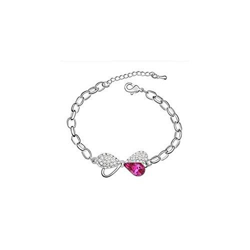 Bracelet noeud plaqué or blanc cristal swarovski elements Rose