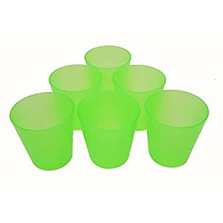Outdoor Everyday Kids Re-usable Shatter Proof Plastic 250 ml Cups/Tumblers Colorful 6 Pack (Green)