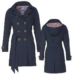 HappyRainyDays - Vêtements imperméables - Femmes - Trenchcoat avec capuchon détachable, Claude navy, taille