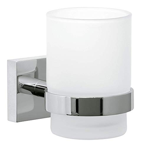Tesa ekkro Zahnbürstenhalter (verchromt, satiniertes Glas, inkl. Klebelösung, hohe Haltekraft (bis 6kg), 95mm x 67mm x 110mm) - Glas-zahnputzbecher