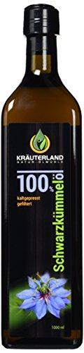 Preisvergleich Produktbild Schwarzkümmelöl • 1000 ml • Frischegarantie: täglich mühlenfrisch direkt vom Hersteller Kräuterland-Ölmühle • gefiltert • kaltgepresst • ägyptisch • 100% naturrein • mild
