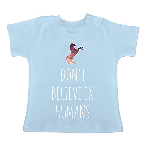 Up to Date Baby - Don't Believe in Humans - 3-6 Monate - Babyblau - BZ02 - Baby T-Shirt Kurzarm