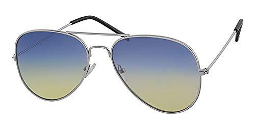 Flach, blau verspiegelt bis gelb Objektiv, Gold Rahmen Aviator Sonnenbrille, mit gratis gelb Halskordel