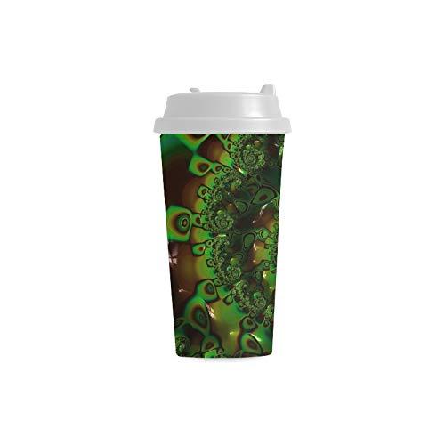 Maßgeschneiderte Kaffeetasse Fraktale Grün Abstrakt Mathematisch Julia Set 16 Unzen Doppelwandige Plastikbecher Pendler Travel Kaffeetassen Für Frauen Trinken Sport Wasser Mann Kaffeetasse