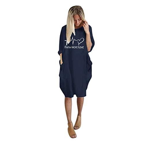 VRTUR Robe Pullover Femme Grande Taille À Manches Courtes Casual Mini Robe Tunique Longue Col Rond Chemisier avec Poches Chic(B-Marine,M)