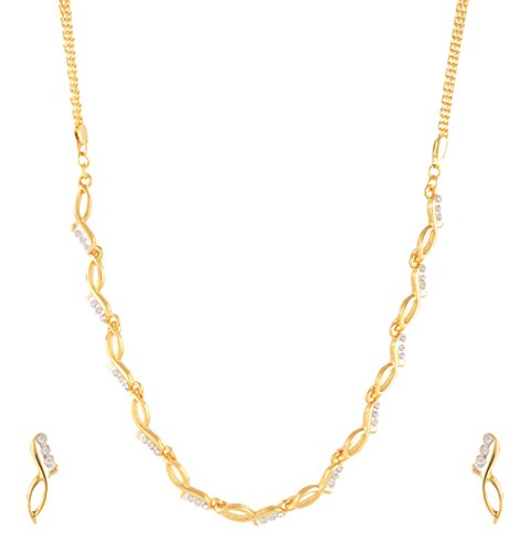 Estelle Gold plated Cz & American Daimond[AD]Simple Fancy Floral Wedding Designer Necklace Jewellery Set For Women & Girls|Traditional Stylish Modern Trendy Unique-Party wear Latest Design Neckless in 1 Gram Gold Jewelry-White Stone in Long Chain.  available at amazon for Rs.1199