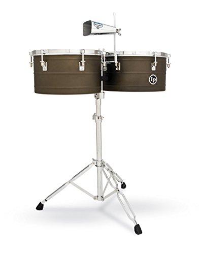 "LP Latin Percussion Timbales Matador Antique Coat Steel 14"" + 15"", Stahlkessel Tiefe 16,5 cm, Optik, herkömmliches Stimmsystem, inklusiv Matador Kuhglocke, Timbale-Ständer, Stimmschlüssel & Stöcke,  M258, Trommel, Drum"