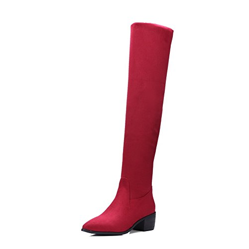 VogueZone009 Femme Couleur Unie Suédé à Talon Correct Tire Pointu Bottes Rouge
