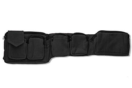Kailash Bauchtasche mit 7 Taschen Stoff Für Damen und Herren Goa Hippie (schwarz) (schwarz) - Tasche Bohemian-tasche