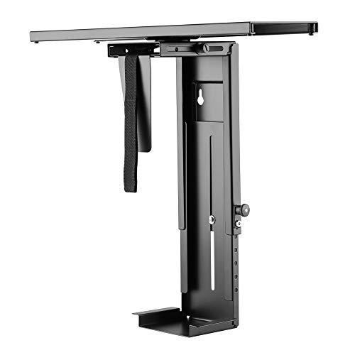 RICOO PC Halterung für Schreibtisch TRH-05 360 Grad drehbar | Rechner Halter unter Tisch Flexibel Rechnerhalter Computerhalterung Gehäusehalter Untertischhalterung | Schwarz