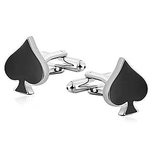 Aeici Manschettenknöpfe Herren Poker Pik Edelstahl Manschettenknöpfe Hochzeit Vintage Manschettenknöpfe Hochzeit Schwarz Papa